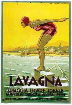 Lavagna, Liguria, Eastern Italian Riviera.  By Luigi Martinati, 1 9 3 1, Lavagna, Italy.