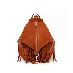 Rebecca Minkoff Fringe Medium Julian Backpack featuring polyvore women's fashion bags backpacks neutrals brown leather rucksack brown leather backpack leather strap backpack leather rucksack brown leather bag