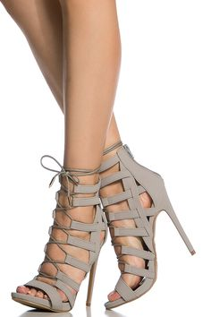 10523bb5235e Grey Faux Nubuck Lace Up Open Toe Heels   Cicihot Heel Shoes online store  sales