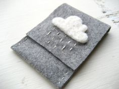 Grey Felt Card Holder/Wallet with White and Silver by FishHollow, $11.00
