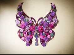 Pink purple and lilac butterfly bead button art