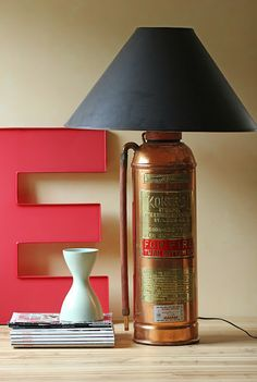 Modish Vintage: DIY: vintage fire extinguisher lamp I am SO doing this for my new house.  I love this look!