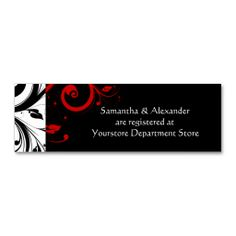Black/White/Red Swirl Gift Registry Insert Cards Business Card. Make your own business card with this great design. All you need is to add your info to this template. Click the image to try it out!