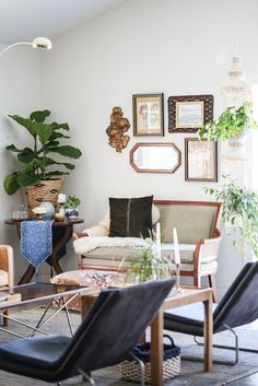 the Savers Home Makeover reveal. one nook at a time. My client's home was the best blank canvas, with concrete floors and one huge wide open space it was a perfect space to work wi. I Coming Home, Wishbone Chair, Living Room Inspiration, Concrete Floors, Bohemian Decor, Nook, The Help, Thrifting, Sweet Home