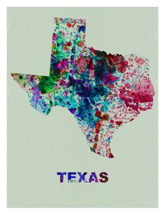 Texas Color Splatter Map Print by NaxArt at Art.com