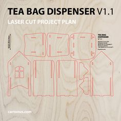 Tea bag dispenser V1.1 Holds standard box of wrapped tea bags – pull one at a time easily out of doorway at base. Vector model ready for lasercut. Create of plywood 3,2 mm (1/8 inch) Dimension internal: 80x70x163 mm (3,2×2,8×6,4 inch) Dimension external: 124x124x226 mm (5x5x9 inch) Lovely gift idea! Digital product includes AI, EPS, PDF, DXF, CDR files. http://cartonus.com/tea-bag-dispenser/
