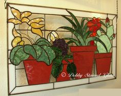 Stained Glass Panel Cactus In Window by DobbyStainedGlass on Etsy