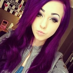 Purple Hairstyles- These 50 Cute Purple Shade Hairstyles You Cant Resist Trying - dyed hair - Hair Designs My Hairstyle, Pretty Hairstyles, Girl Hairstyles, Scene Hairstyles, Love Hair, Gorgeous Hair, Gorgeous Makeup, Bright Purple Hair, Dark Purple