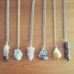 Raw crystal wire wrapped necklaces by Marlee Watts  https://www.etsy.com/ca/shop/MarleeCWatts?ref=hdr_shop_menu