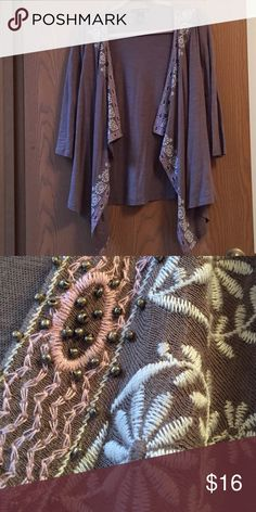 Will Smith Jacket Love this! Cute little taupe cardigan. Embroidered with white flowers, pink embroidered gold bead trim. Great for cool summer nights! Willi Smith Jackets & Coats