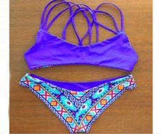 Available Double Face Printed Boho Strap Bikini Set