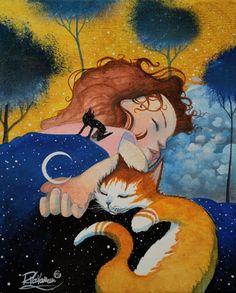 """ THE SECRET CAT NIGHT "" Original Painting is available now: http://www.ebay.com/usr/ombre-de-lune  Fine Art Prints Free worldwide delivery - http://ift.tt/1dFMdtA"