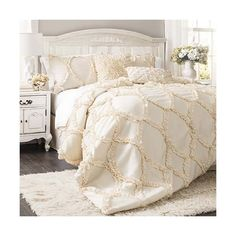 Lush Decor Avon Ivory Three-Piece Queen Comforter Set ($217) ❤ liked on Polyvore featuring home, bed & bath, bedding, comforters, euro square pillow shams, beige euro sham, ivory queen comforter set, embroidered comforter and queen comforter set