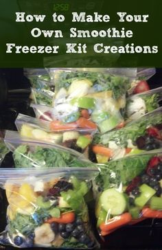 green smoothie kits How to Make Your Own Smoothie Freezer Kit Creations. Freezer Breakfast MealsHow to Make Your Own Smoothie Freezer Kit Creations. Healthy Smoothies, Healthy Drinks, Healthy Snacks, Healthy Recipes, Freezer Smoothies, Smoothie Prep, Make Ahead Smoothies, Vitamix Recipes, Blender Recipes