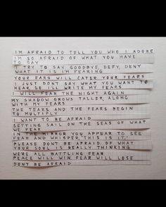 Twenty one pilots lyrics about fear #twentyonepilots #tylerjoseph #joshdun