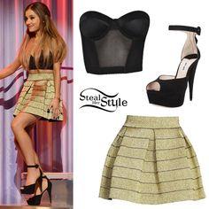 Ariana Grande Party Outfit  -Nasty Gal Dark Desire Bustier -Gold Parker Zambi Skirt -Miu Miu Suede Ankle -Strap Platform Sandals