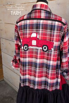 "Farm Girl Fancies Womens Upcycled Flannel Shirt Jacket Tunic Clothing: A line Style Red Vintage Truck ""Gone Junkin' "" by: Sweet Magnolias Farm .. now in our Etsy Shop"