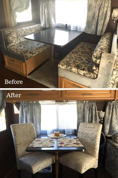Lynette Sapp RV Dining Area Before and After The owners of these motorhomes, campers, and travel trailers decided to remove their dinette booth. Check out these photos of the space without the booth and what they replaced it with. Dining Booth, Dining Area, Travel Trailer Remodel, Travel Trailers, Rv Trailer, Diy Rv, Camper Makeover, Camper Renovation, Camper Interior