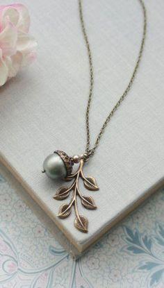 Acorn Leaf  Necklace by Marolsha