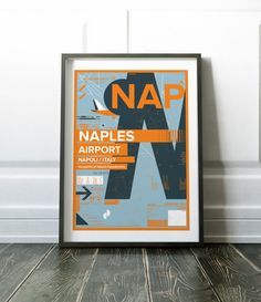 Italy Poster Naples Airport Print Travel Print Art Print Wall Decor Modern Naples Airport Poster Modern Travel Art Italy Print Wall Print