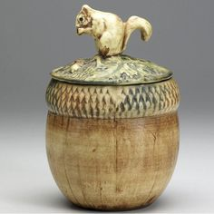 I know you don't use this anymore, so here's my final post for you.   WELLER Woodcraft covered acorn jar