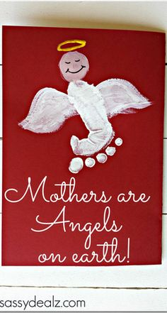 """Mothers are Angels on Earth"" Footprint Mother's Day Card (kids craft)"