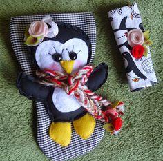 Liz Artesanatos: Pegador de Geladeira Pinguim