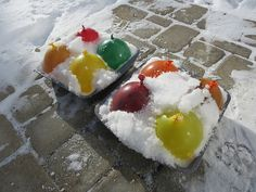 Ice marbles. Fun to try in the winter. Maybe at Christmastime.
