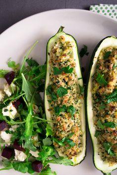 Quinoa and Kale Pesto Stuffed Zucchinis