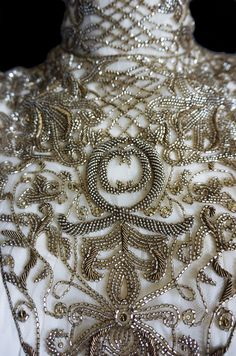 Detail of the beaded bodice on F2006 Alexander McQueen Feather Dress
