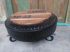 Balinese Recycled Rubber Tyre Tube Side Coffee Table Castor Wheels Unique