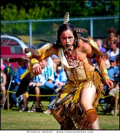 young man wearing Huron-Wendat traditional dress and paint takes part into the dance contest of the Wendake Pow-Wow July 31, 2010. The Wyandot (also called Huron) are indigenous peoples of North America, known in their native language of the Iroquoian family as the Wendat.