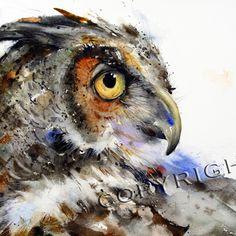 OWL Watercolor Print By Dean Crouser -, via Etsy.