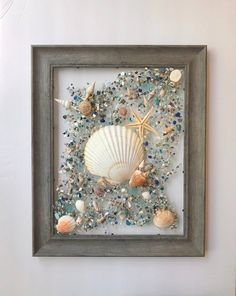 14x17 Beach Seashell WIndow or Wall Art w/ Real Seashells and Starfish for that Coastal Touch to Home or Office/Great Gift Idea!  This design of crushed shell/glass, seashells and starfish is bonded (not glued) to glass with resin and framed in a 14x17-inch driftwood look frame, easy to hang with Resin Art, Starfish, Sea Shells, Coastal, Etsy Shop, Windows, Wall Art, Beach, Conchas De Mar