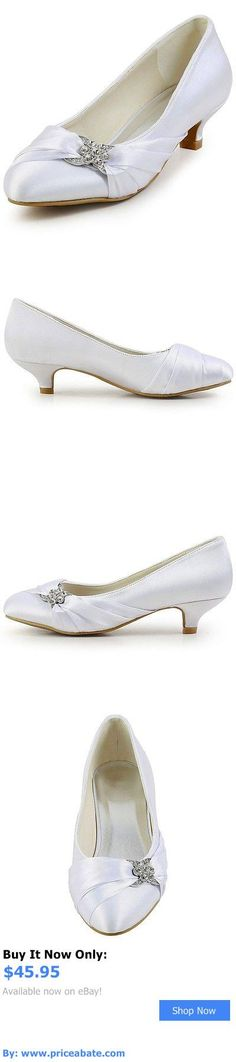 Wedding Shoes And Bridal Shoes: Ep2006l Low Heel Wedding Pumps Closed Toe Rhinestones Ruched Satin Bridal Shoes BUY IT NOW ONLY: $45.95 #priceabateWeddingShoesAndBridalShoes OR #priceabate
