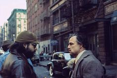 Francis Ford Coppola and Marlon Brando on the set of The Godfather.