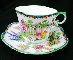 SALE - Aynsley art deco pink rose garden gate roses art deco Tea cup and saucer…