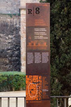 Corten street sign | points of interest in Roman Barcelona