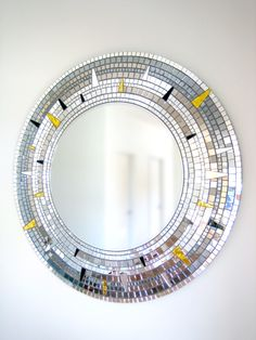 Mosaic Mirror Wall Decor handmade round mirror, sparkly wall decor, mosaic mirror, vintage