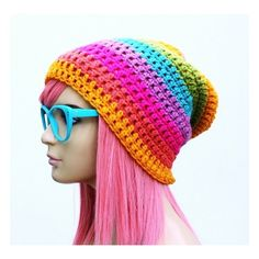 Crochet Slouch Rainbow Beanie- Ultimate Slacker Striped Beanie Hat-... ❤ liked on Polyvore
