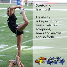 Pro tip: Always remember to stretch! Your body will thank you later! #cheertip