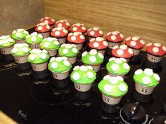 Mario Mushroom Cupcakes - Marshmallows  or White Chocolate Chips