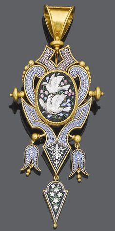 A 19th century micro mosaic pendant, circa 1870 The scrolling cartouche set with polychrome micro mosaic with an oval plaque depicting doves and flowers, to an articulated foliate swing drop below, some tesserae deficient, length 11.4cm.