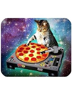 New Top Funny Space Cat and Pizza Rectangle Non-Slip Rubber Mouse Pad Mousepad Mat ❤ Infinite Love