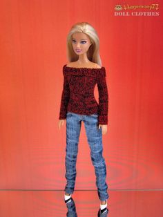 Hand knit doll sweater for: Barbie Pullip by Hegemony77com on Etsy