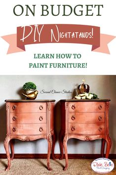 Learn how to create matching nightstands using Dixie Belle Paint in the colors Flamingo, Apricot, Pale Pink and Drop Cloth! Diy Furniture Projects, Repurposed Furniture, Furniture Makeover, Diy Projects, Orange Painted Furniture, Brown Paint, Dixie Belle Paint, Mineral Paint, Painting Furniture