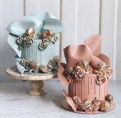 Pink and Blue 1 Tier Drip Cakes Candy Birthday Cakes, Elegant Birthday Cakes, Beautiful Birthday Cakes, Beautiful Cake Designs, Beautiful Cakes, Amazing Cakes, Pretty Cakes, Cute Cakes, Birthday Cake Decorating