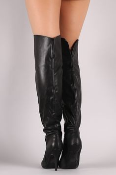 Qupid Cuff Pointy Toe Over-The-Knee Stiletto Boots