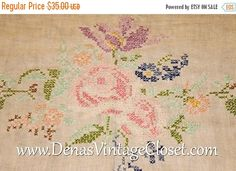 "30% OFF Mothers Day Sale Vintage White Cross Stitch Embroidered Tablecloth Rectangular 82"" X 66"" Pink Green Blue AS Is"