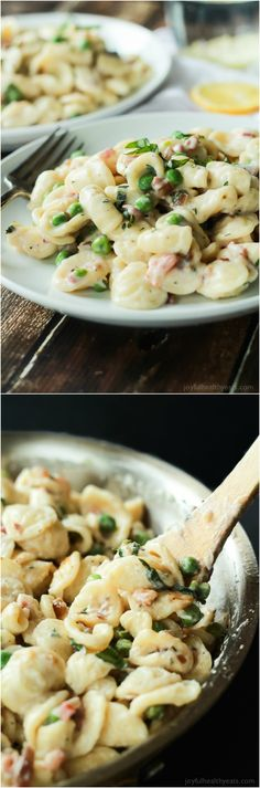 Crispy Pancetta Sweet Pea Orecchiette Pasta tossed with a creamy lemon herb Goat Cheese Sauce! This pasta recipe is comfort food to the max AND its skinny!   joyfulhealthyeats.com #recipes